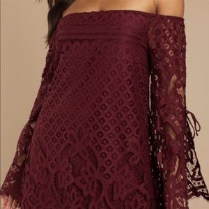 Tobi Dresses - Tobi Maroon Lace Off-Shoulder Dress